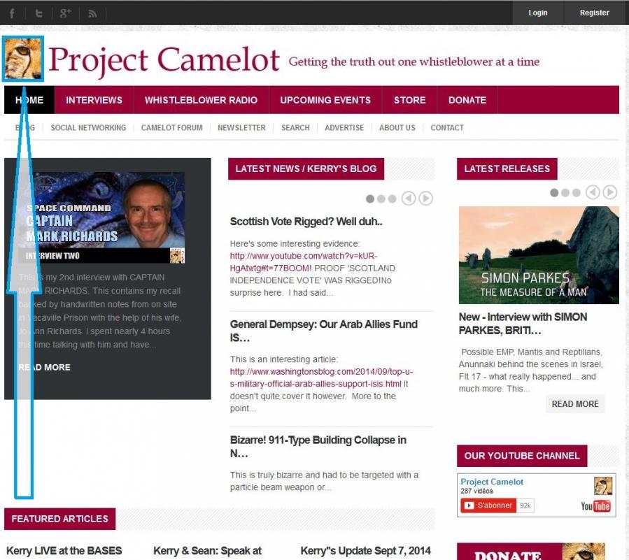 Projet camelot page d accueil du site oeil